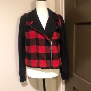 Black and red checkered zip up blazer size medium